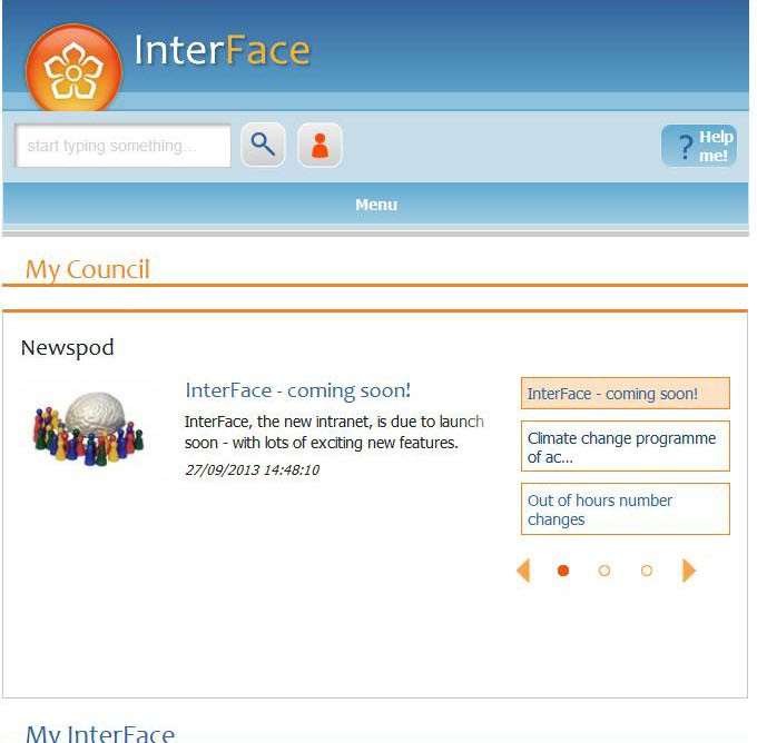 Interface tablet view