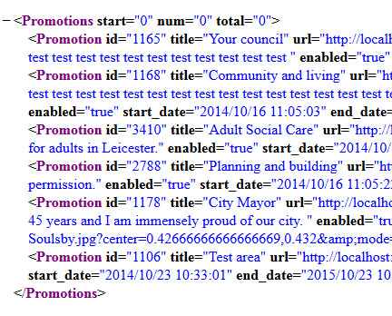 Promotions XML output